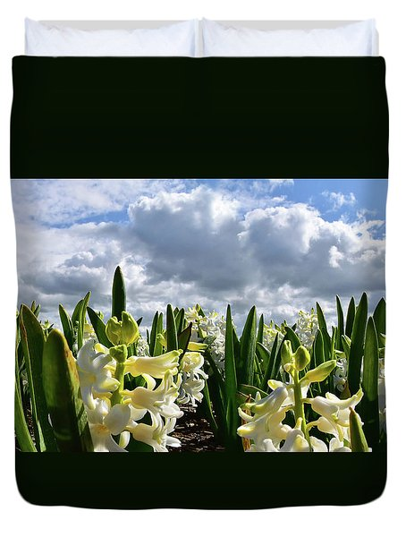White Hyacinth Field Duvet Cover by Mihaela Pater