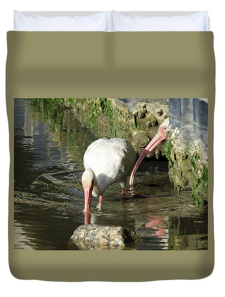 Duvet Cover featuring the photograph White Ibis Couple by George Randy Bass