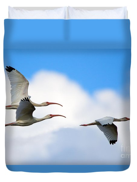 White Ibis Flock Duvet Cover