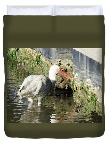 Duvet Cover featuring the photograph White Ibis Headed Home by George Randy Bass