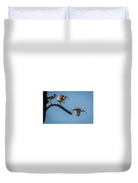 Duvet Cover featuring the photograph White Ibis Takeoff by Tom Claud