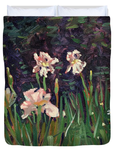 Duvet Cover featuring the painting White Irises by Donald Maier