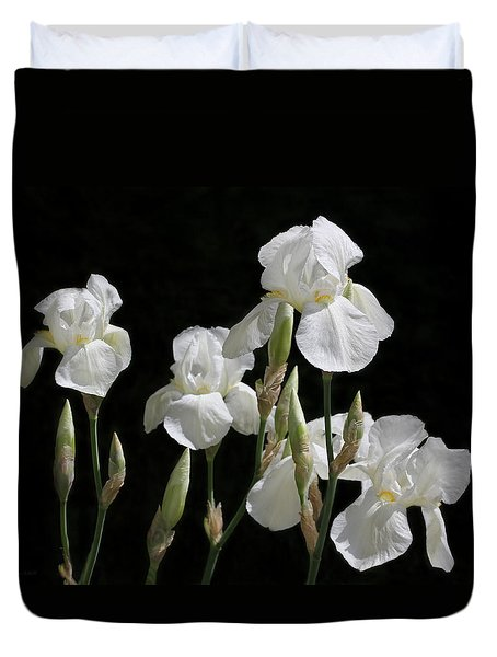 White Iris Flowers In The Garden Duvet Cover