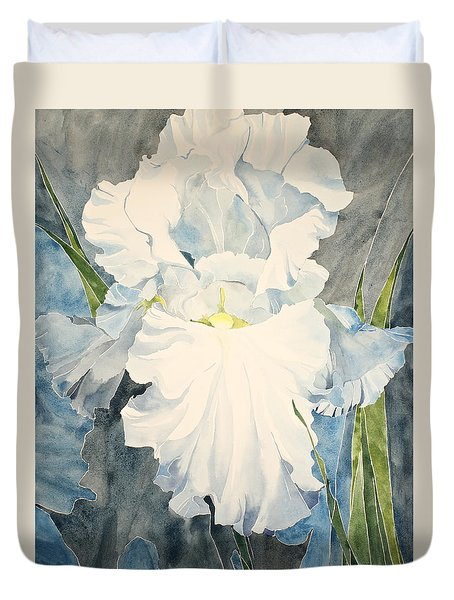 Duvet Cover featuring the painting White Iris - For Van Gogh - Posthumously Presented Paintings Of Sachi Spohn   by Cliff Spohn