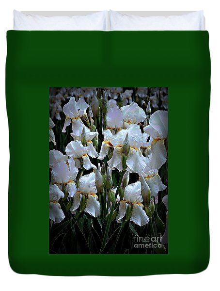 White Iris Garden Duvet Cover by Sherry Hallemeier