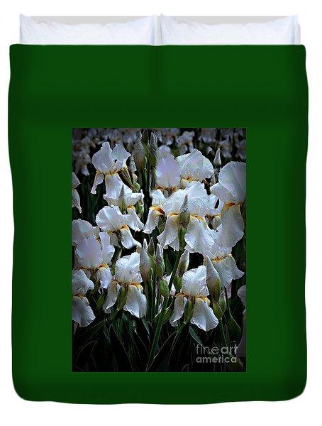White Iris Garden Duvet Cover