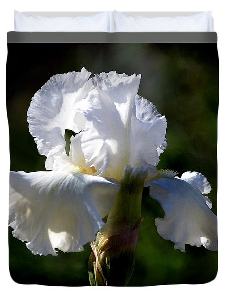 Duvet Cover featuring the photograph White Iris by Kathleen Stephens