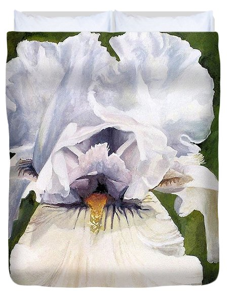 Duvet Cover featuring the painting White Iris by Laurie Rohner