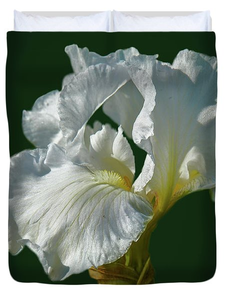 Duvet Cover featuring the photograph White Iris On Dark Green #g0 by Leif Sohlman