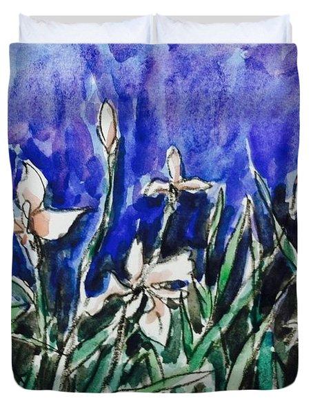 White Irises  Duvet Cover