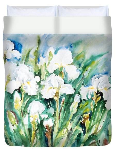 White Irises Duvet Cover
