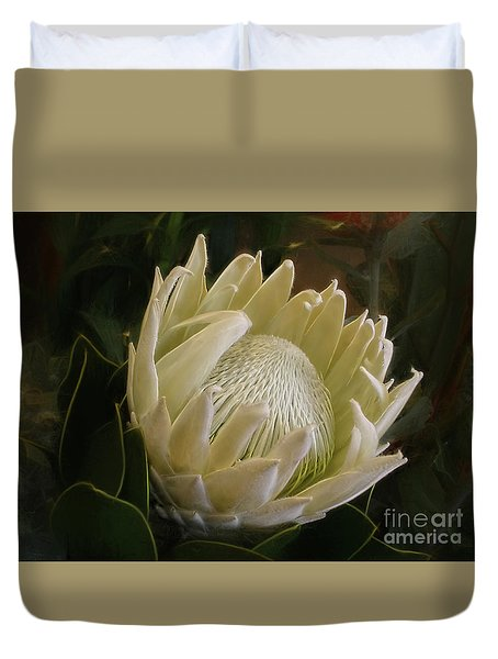 Duvet Cover featuring the photograph White King Protea By Kaye Menner by Kaye Menner