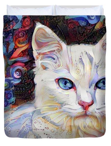 White Kitten With Blue Eyes Duvet Cover