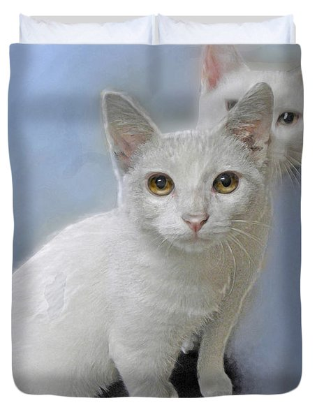 White Kittens Duvet Cover by Jane Schnetlage