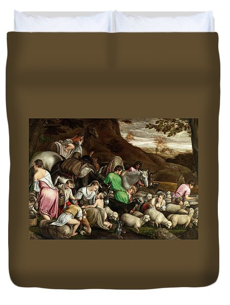 Duvet Cover featuring the photograph White Lambs by Munir Alawi