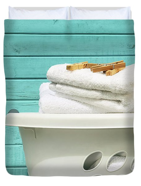 White Laundry Basket With Towels And Pins Duvet Cover
