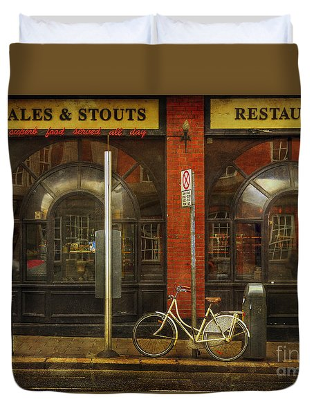 Duvet Cover featuring the photograph White Leopard Bicycle  by Craig J Satterlee