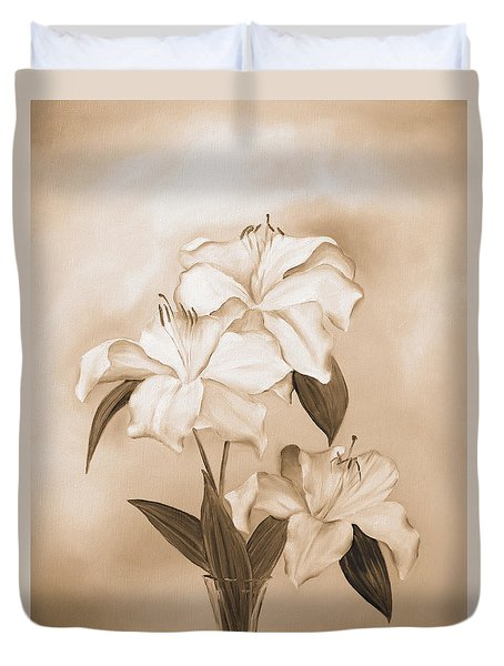 White Lilies Duvet Cover by Elizabeth Lock