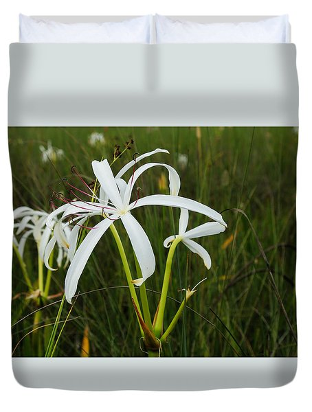 White Lilies In Bloom Duvet Cover