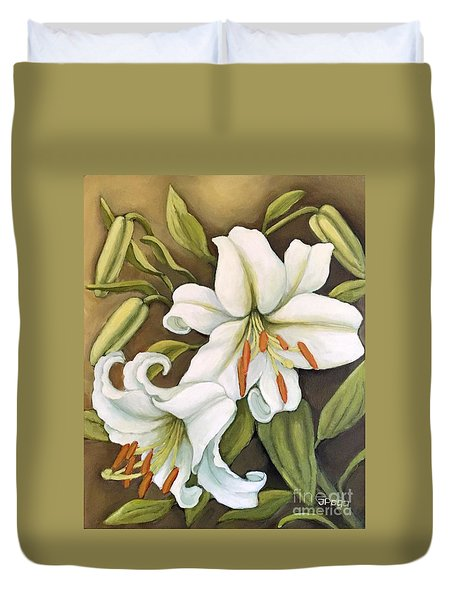 White Lilies Duvet Cover by Inese Poga