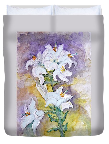 White Lilies Duvet Cover by Jasna Dragun