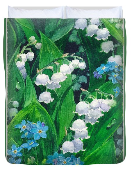 White Lilies Of The Valley Duvet Cover