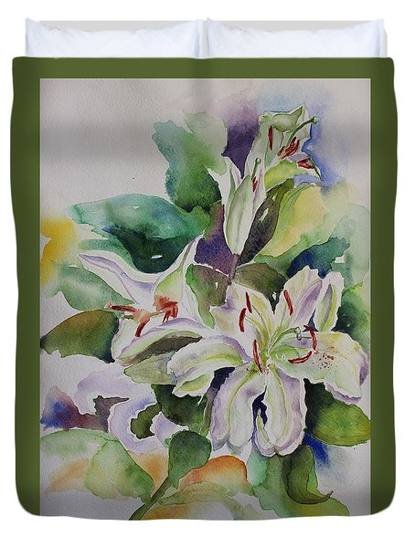 Duvet Cover featuring the painting White Lilies Still Life by Geeta Biswas