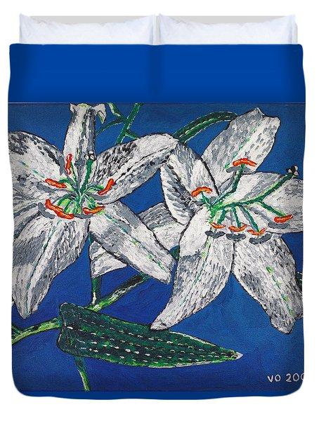 White Lilies Duvet Cover by Valerie Ornstein