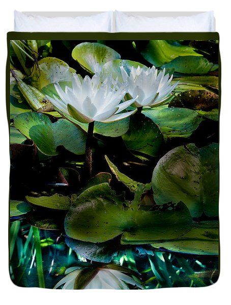 White Lilies, White Reflection Duvet Cover