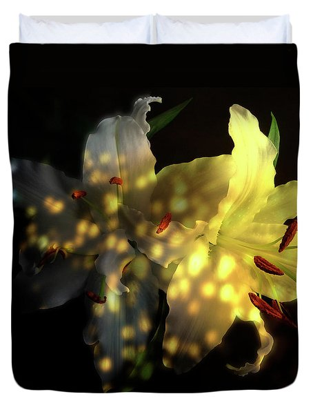 White Lilies With Shadows And Light Duvet Cover