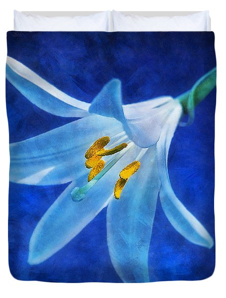 Duvet Cover featuring the digital art White Lilly by Ian Mitchell