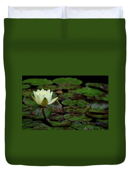 White Lily In The Pond Duvet Cover