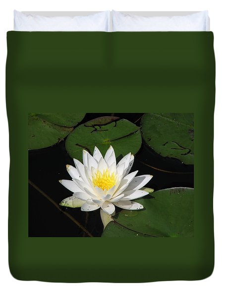 White Lily Pad Duvet Cover