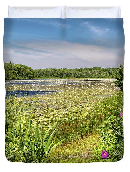 White Lily Pond  Duvet Cover