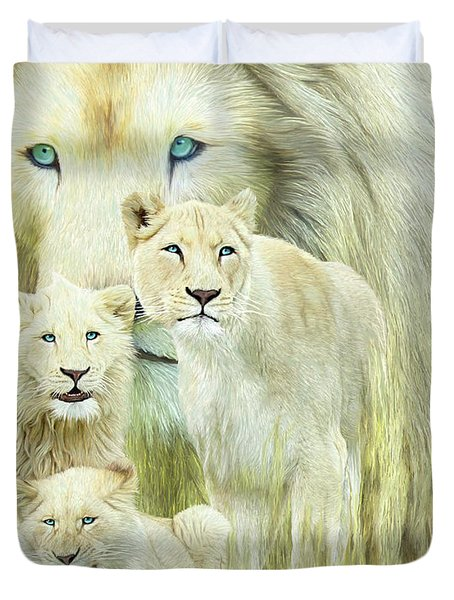 Duvet Cover featuring the mixed media White Lion Family - Forever by Carol Cavalaris