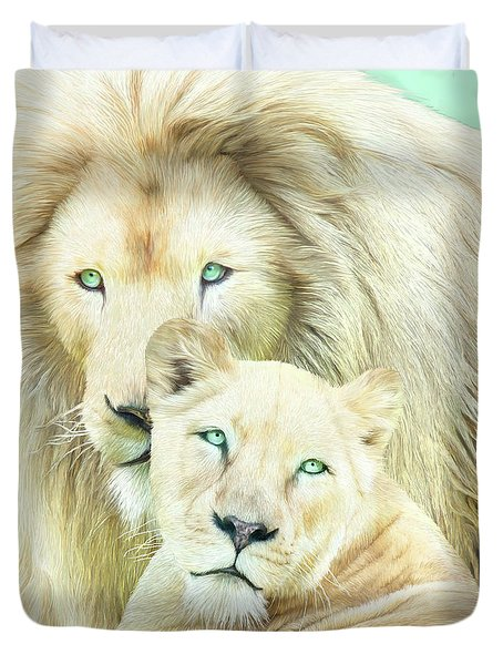 Duvet Cover featuring the mixed media White Lion Family - Mates by Carol Cavalaris