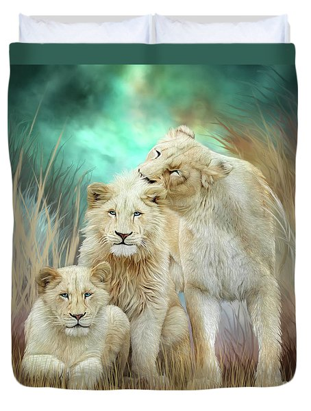 Duvet Cover featuring the mixed media White Lion Family - Mothering by Carol Cavalaris