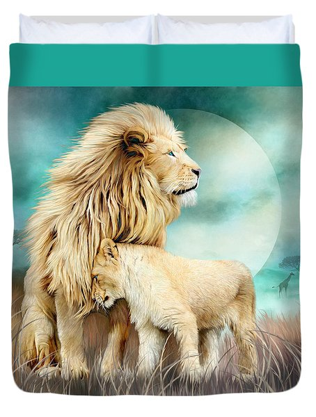 Duvet Cover featuring the mixed media White Lion Family - Protection by Carol Cavalaris