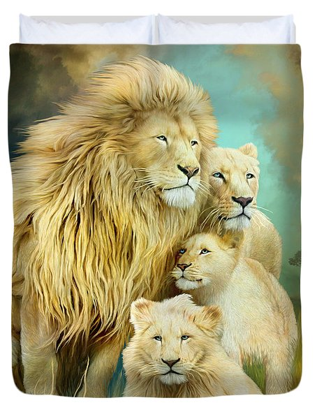 Duvet Cover featuring the mixed media White Lion Family - Unity by Carol Cavalaris