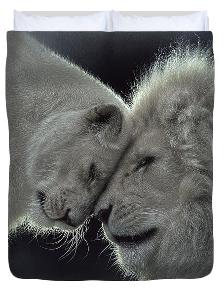 White Lion Love Duvet Cover