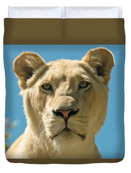 White Lion Duvet Cover by Scott Carruthers