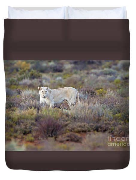 White Lioness Duvet Cover