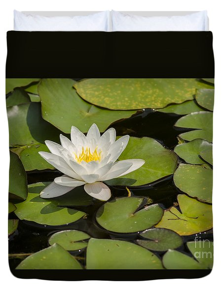 White Lotus Flower Duvet Cover
