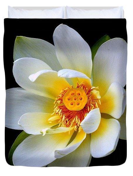 White Lotus Flower Duvet Cover