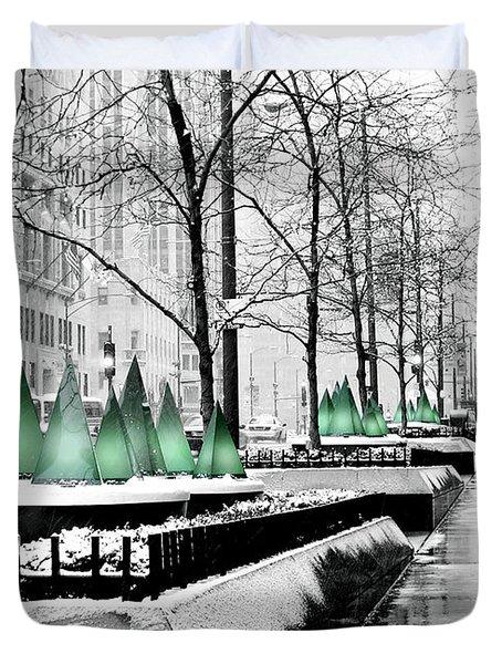 White Mag Mile Christmas Duvet Cover