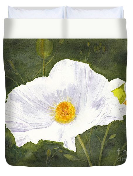 White Matilija Poppy  Duvet Cover