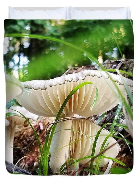 White Mushrooms Duvet Cover