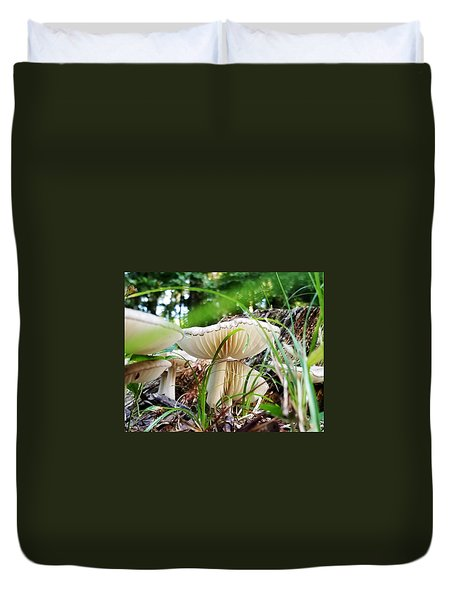 Duvet Cover featuring the photograph White Mushrooms by Farol Tomson