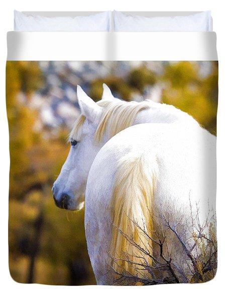 White Mustang Mare Duvet Cover