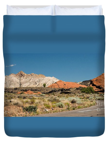 Duvet Cover featuring the photograph White Navajo Sandstone Petrified Sand Dune by MaryJane Armstrong